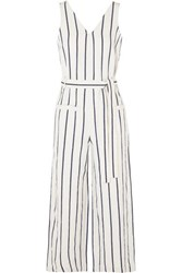 Madewell Striped Cotton And Linen Blend Jumpsuit Cream