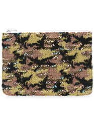Coohem Knit Tweed Camouflage Pouch Calf Leather Polyester Cotton Acrylic Green