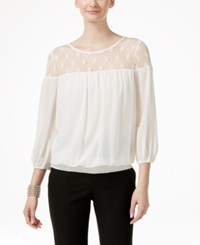Eci Mesh Illusion Yoke Peasant Blouse Ivory
