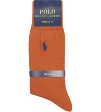 Ralph Lauren Merino Wool Flat Knit Socks Earth Orange