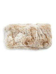 Surell Rabbit Fur Headband Collar Beige