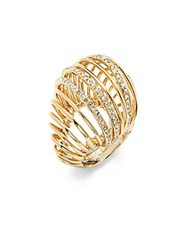 Alexis Bittar Crystal Cutout Ring Gold