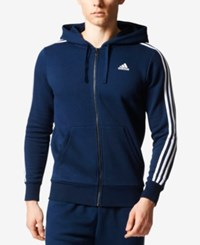 Adidas Men's Essential Fleece Zip Hoodie Navy White