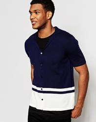 Asos Button Through Knitted Cardigan In Merino Wool Mix Navy