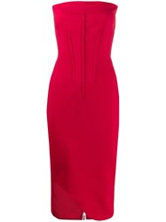 Genny Strapless Midi Dress Red
