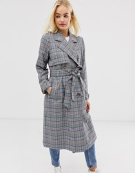 Minimum Moves By Check Trench Coat Blue