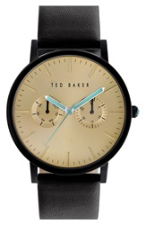 Ted Baker Multifunction Leather Strap Watch 40Mm Black Gold