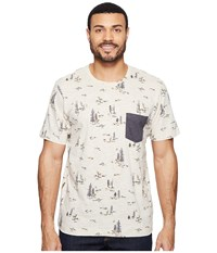 Columbia Lookout Point Pocket Tee Stone Deer Print Shark Men's Short Sleeve Pullover White