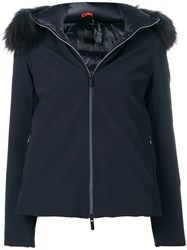 Rrd Fur Hood Trim Jacket Blue