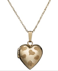 Macy's Children's 14K Gold Necklace Engraved Heart Locket Pendant