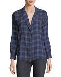 3X1 Moxy Plaid Cotton Wrap Shirt Black Pattern