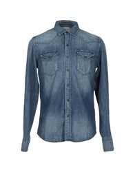 Replay Denim Denim Shirts Men Blue