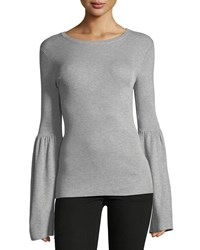 Magaschoni Flare Sleeve Ribbed Sweater Cloud Burst Heath