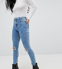 Asos Petite Ridley High Waist Skinny Jeans In Sinclair 80S Acid Wash With Busts Sinclair 80S Acid Blue