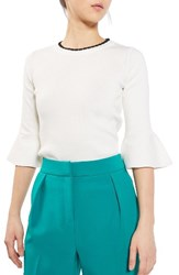 Topshop Women's Scallop Neck Fluted Sweater