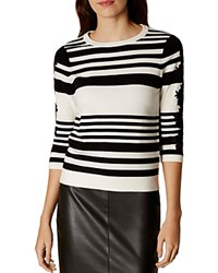Karen Millen Lace Detail Striped Sweater Black White