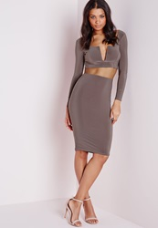 Missguided Slinky Bodycon Midi Skirt Taupe Brown