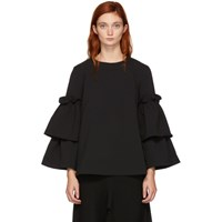 Edit Black Tiered Swing Sleeve Blouse