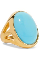 Kenneth Jay Lane Gold Plated Turquoise Ring One Size