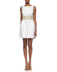 Erin Fetherston Sleeveless Lace Waist Jacquard Cocktail Dress Ivory Champagne
