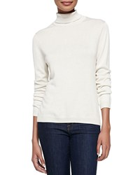 Joan Vass Silk Cashmere Long Sleeve Turtleneck Ivory