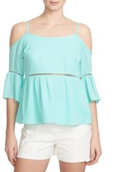 1.State Cold Shoulder Peasant Shirt Green