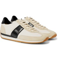 Tom Ford Leather And Suede Panelled Canvas Sneakers White
