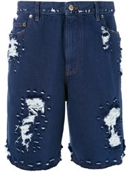Golden Goose Deluxe Brand Distressed Shorts Blue