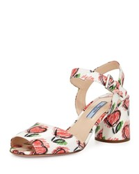 Prada Heart Print Leather City Sandal White Red White Red