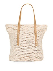 Saks Fifth Avenue Faux Leather Trimmed Paper Straw Tote Melon