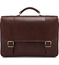 Aspinal Of London Leather Satchel Briefcase Chocolate