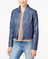 Collection B Juniors' Weathered Faux Leather Zipper Front Jacket Oxford Blue