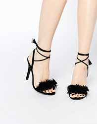 Daisy Street Black Pom Ghillie Lace Up Heeled Sandals Black
