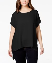 Soprano Plus Size Short Sleeve High Low Top