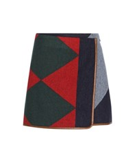 Tory Burch Cheval Leather Trimmed Wool Blend Skirt Multicoloured