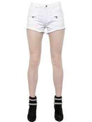 Balmain Frayed Stretch Cotton Denim Shorts