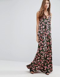 Warehouse Cherry Blossom Printed Cross Back Maxi Dress Black