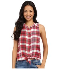 Lucky Brand Rayon Plaid Shirt Red Multi Women's Sleeveless