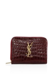 Saint Laurent Monogram Croc Embossed Leather French Zip Wallet Noir Rouge