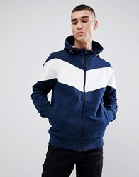 Another Influence Navy Contrast Zip Through Hoodie