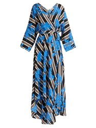 Diane Von Furstenberg Eloise Silk Jersey Midi Dress Black Blue