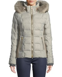 Bogner Fire And Ice Uma Down Filled Coat W Removable Hood Fur Trim Gray