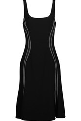 Altuzarra Sophia Silk Satin Trimmed Embroidered Stretch Crepe Dress Black