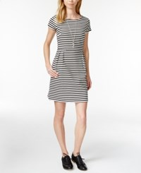 Maison Jules Rugby Stripe Fit And Flare Dress Only At Macy's Black Combo