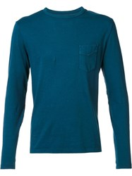 Officine Generale Chest Pocket Longsleeved T Shirt Blue
