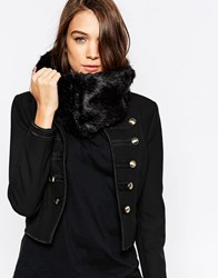 French Connection Faux Fur Mix Snood Black