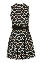 High Neck Geo Belted Dress By Love Navy Blue