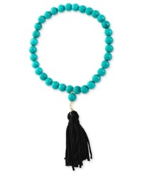 Macy's Stretch Bracelet 14K Gold Over Sterling Silver Dyed Blue White Turquoise Bead 45 Ct. T.W. And Tassel Bracelet