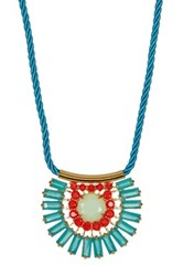 Carolee Nassau Nights Pave Stone Baquette Necklace Yellow