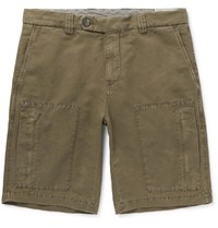 Brunello Cucinelli Linen And Cotton Blend Cargo Shorts Green